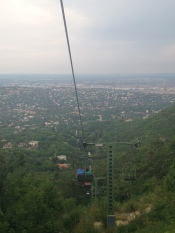 Chair lift view to the city